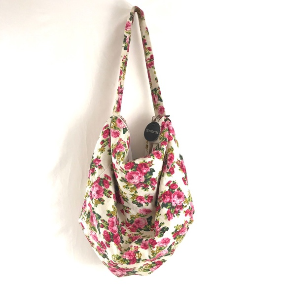 Cotton On Handbags - NWT Cotton On Hobo Slouch Floral Bag Purse Roses
